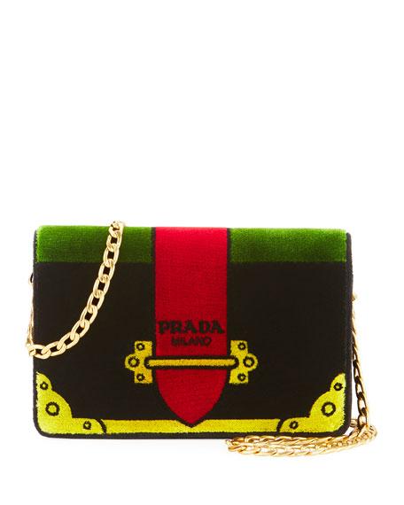 Prada Cahier Velvet Shoulder Bag