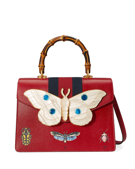 Falena Medium Moth Top-Handle Bag with Blue/Red Web