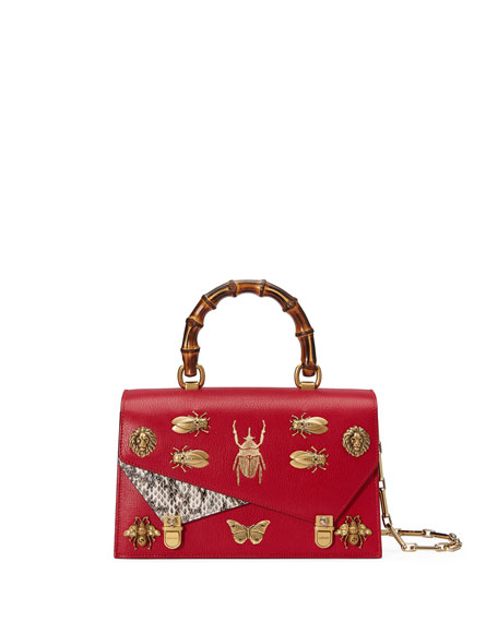 Small Linea P Painted Insects Leather Top Handle Satchel - Red