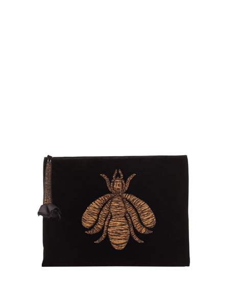 Insect-Embroidered Velvet Clutch Bag