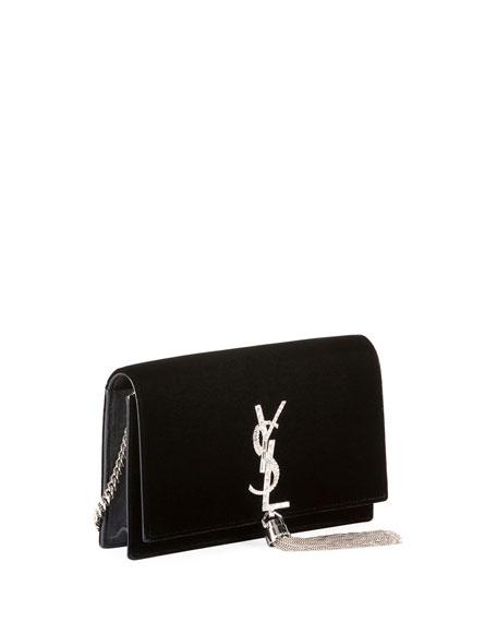 Kate Monogram Small Tassel Velvet Crossbody