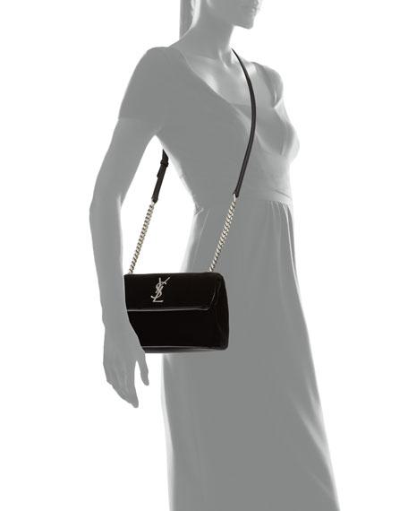 4ace545ef5c Saint Laurent West Hollywood Monogram Small Velvet Shoulder Bag
