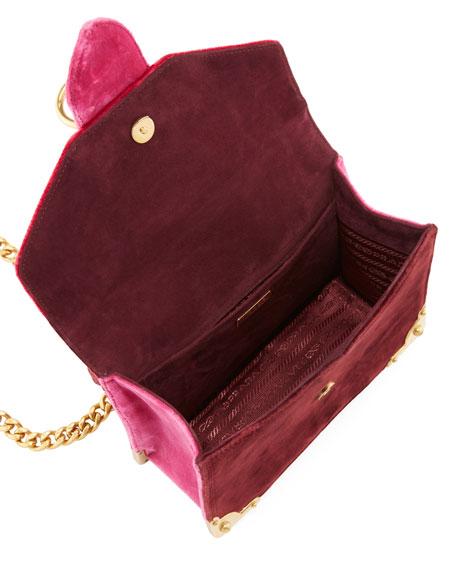 Velluto Ricamo Trunk Shoulder Bag