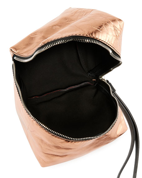 Metallic Leather Mini Cube Wristlet Bag