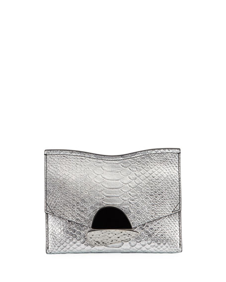 Curl Small Python-Embossed Clutch Bag