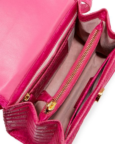 Small Beaded Top-Handle Crocodile Bag
