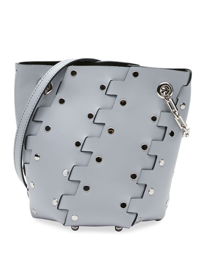 Mini Hex Studded Leather Bucket Bag
