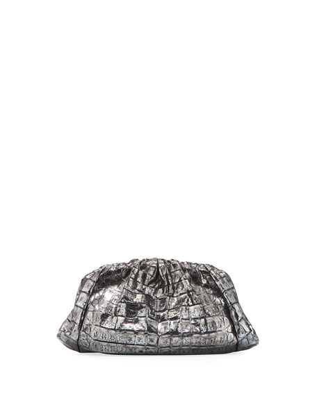 Small Rounded Ruched Crocodile Clutch Bag
