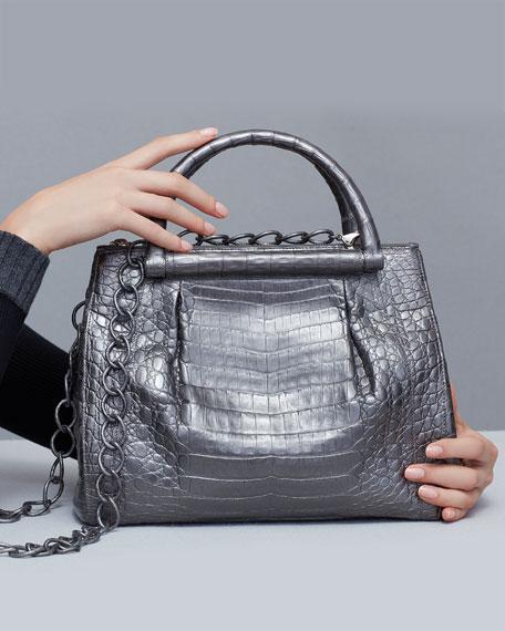 Medium Pleated Crocodile Tote Bag