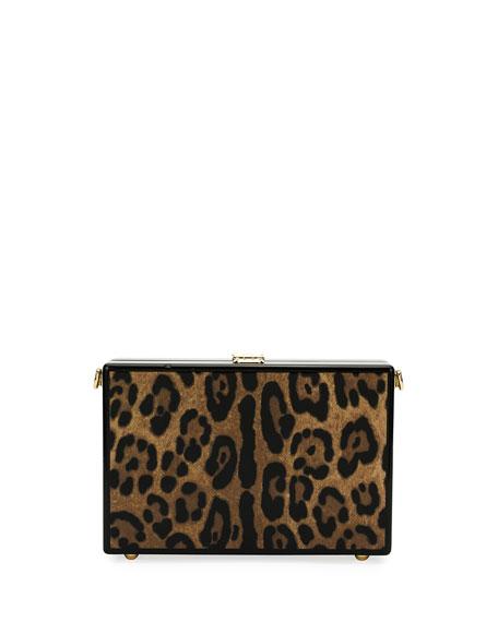 Leopard-Print Wood Box Clutch Bag