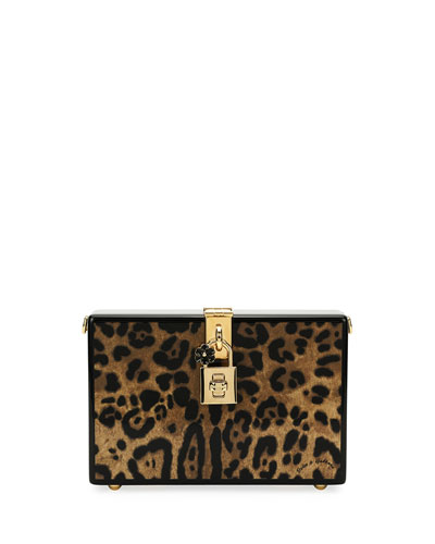 Leopard-Print Wood Box Clutch Bag
