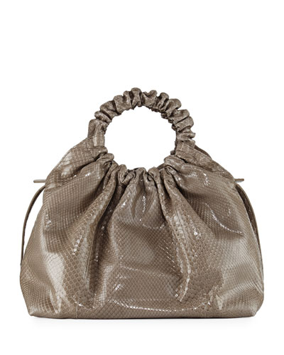 Double Circle Medium Python Tote Bag