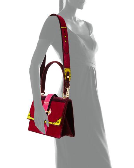 Trompe L'oeil Velvet Cahier Buckle Bag