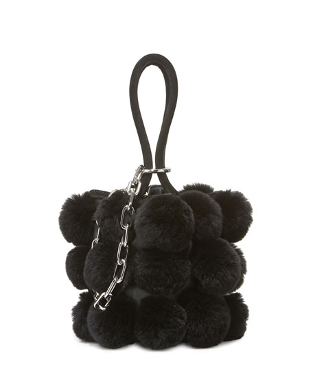 Roxy Mini Fur Pompom Bucket Bag
