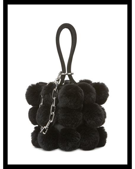 Roxy Mini Fur Pompom Bucket Bag