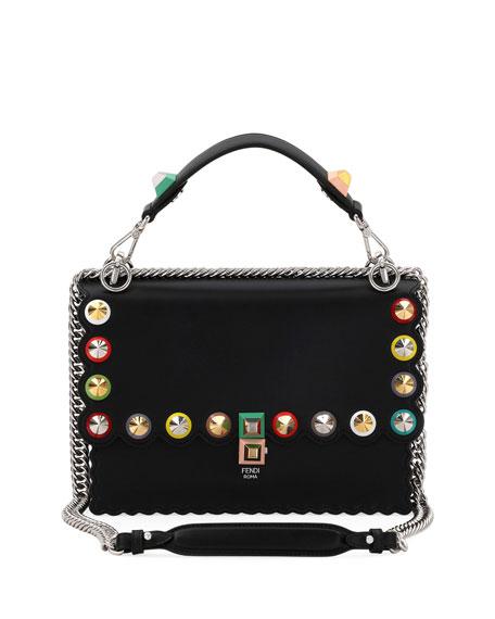 Kan I Regular Studded Leather Scalloped Shoulder Bag, Black/Gray
