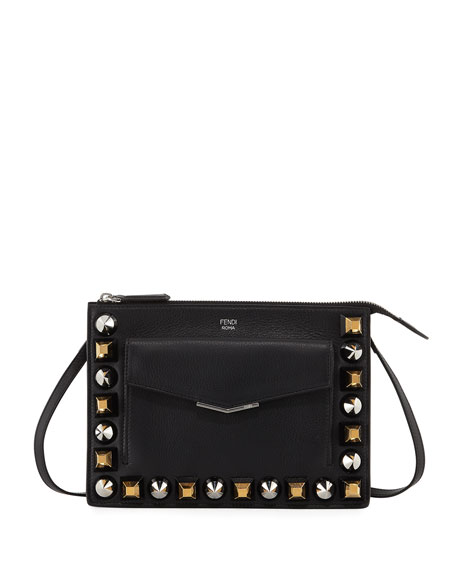 d46ba0a0d299 Fendi Mixed Stud Calf Leather Mini Pouch