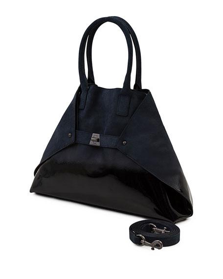 Ai Small Lacquered Nubuck Top-Handle Bag