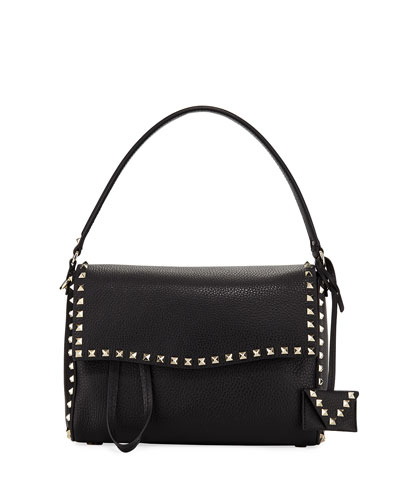Rockstud Leather Top-Handle Bag