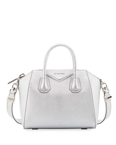 Antigona Small Metallic Leather Satchel Bag