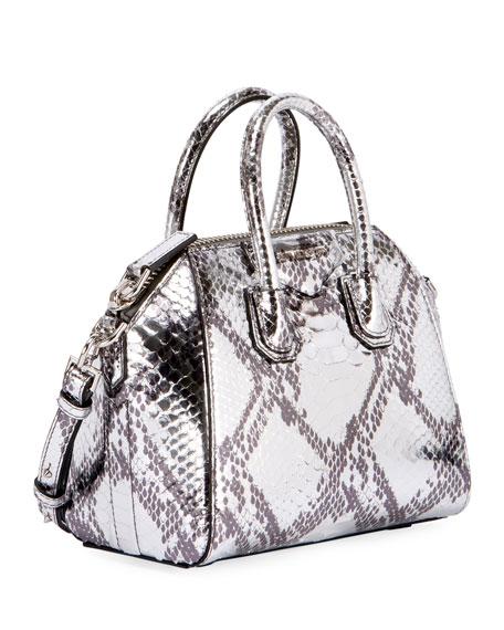 Antigona Mini Laminated Python Satchel Bag