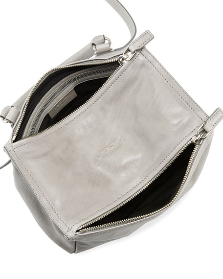 Pandora Small Shiny Aged Leather Satchel Bag