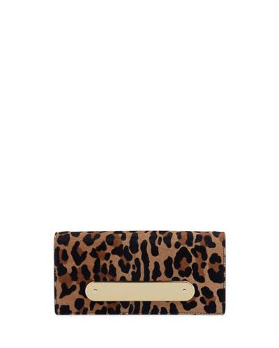 Candy Bar Leopard-Print Calf Hair Clutch Bag