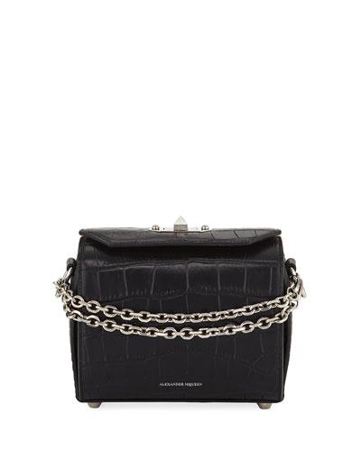 Box 19 Crocodile-Embossed Crossbody Bag