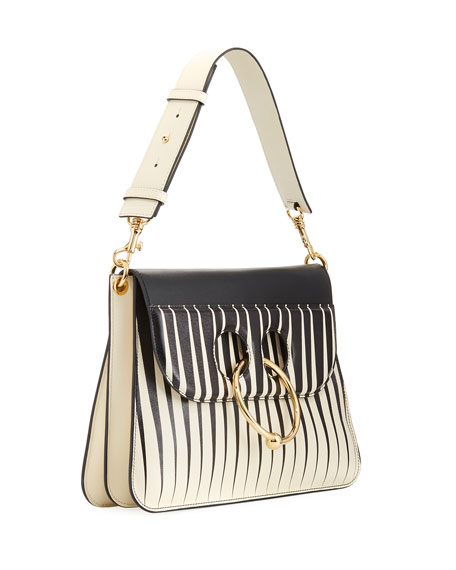 Pierce Striped Leather Shoulder Bag