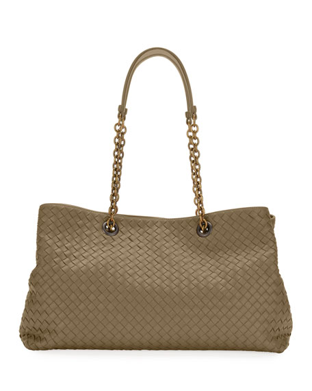 Intrecciato East/West Leather Tote Bag - Grey in Limestone