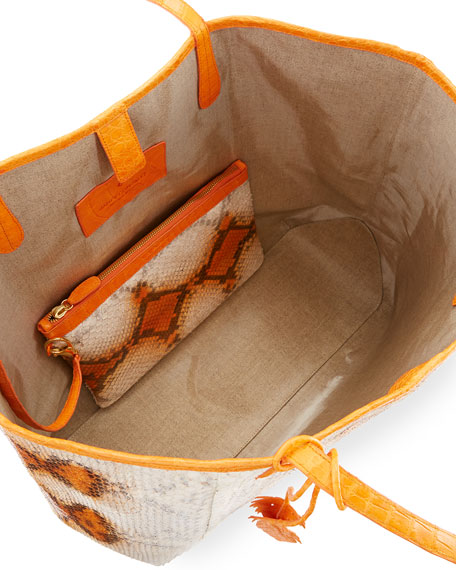 Erica Large New Python Leaf Tote Bag