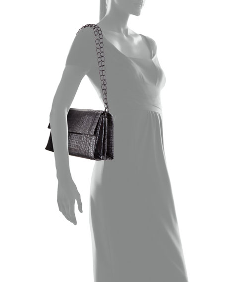 Metallic Crocodile Double-Chain Shoulder Bag