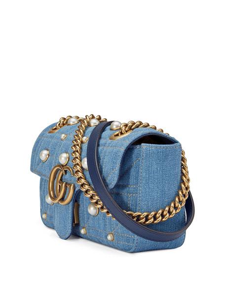 58960d7262b7 Gucci GG Marmont 2.0 Mini Denim Shoulder Bag