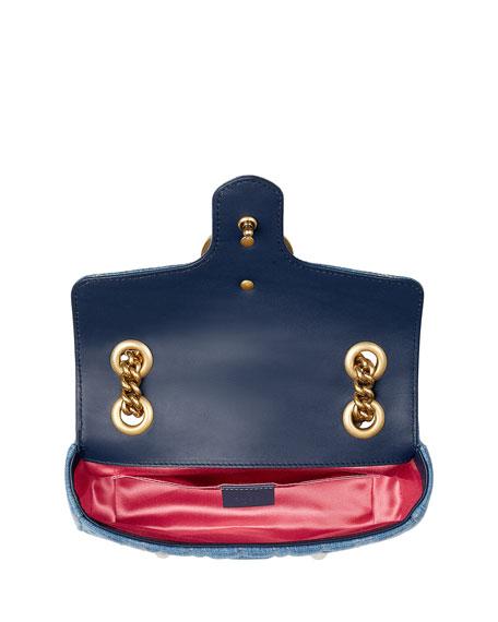 1b773f63eca396 Gucci GG Marmont 2.0 Mini Denim Shoulder Bag