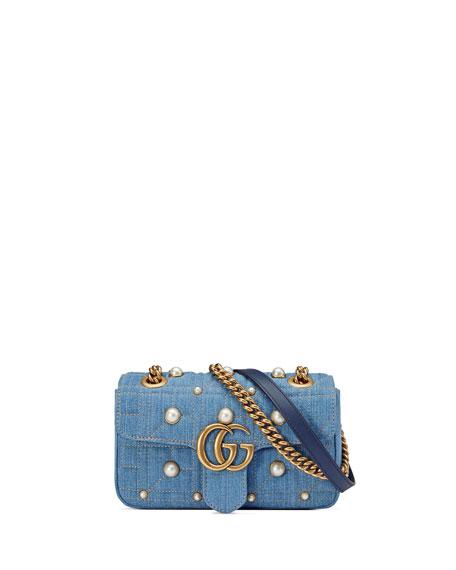 fd28839c9 Gucci GG Marmont 2.0 Mini Denim Shoulder Bag