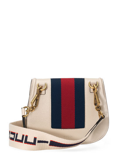 Linea Totem Small Leather Shoulder Bag with Butterfly & Web Strap
