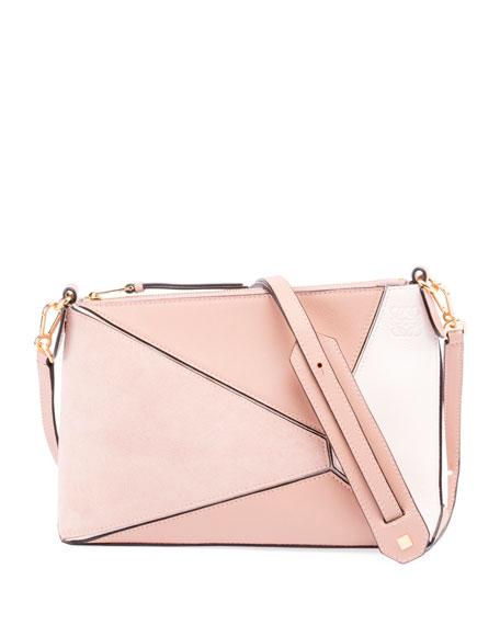 Mini Puzzle Leather Crossbody Bag - Coral, Blush