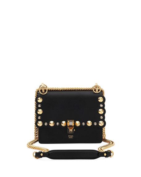 Small Kan I Scallop Leather Shoulder Bag - Black, Black/Gold
