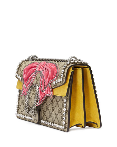 bb985dad22c1ab Gucci Dionysus Small GG Supreme Shoulder Bag with Bow & Crystals