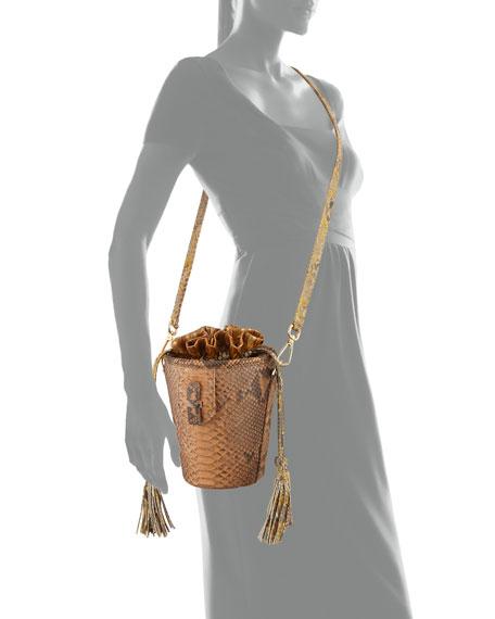 Chechi Python Drawstring Bucket Bag