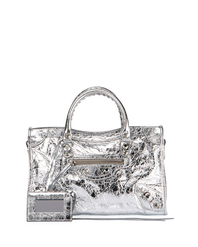 Classic City AJ Small Metallic Leather Satchel Bag