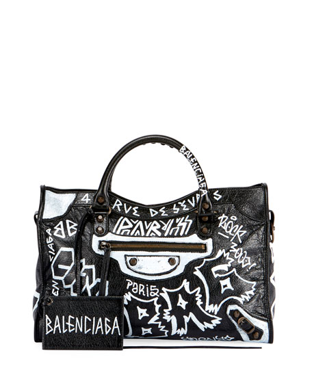 Classic City AJ Graffiti-Print Satchel Bag