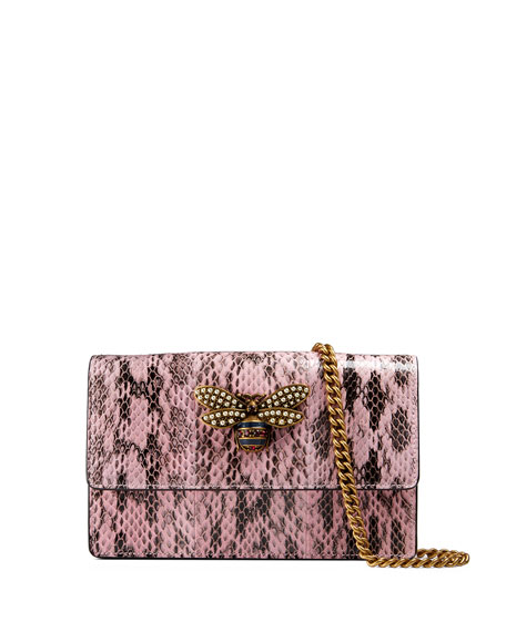 Queen Margaret Snakeskin Wallet on a Chain with Bee