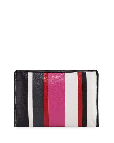 Bazar Striped Leather Pouch Bag