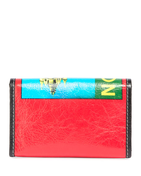 Bazar London-Print Leather Shoulder Bag