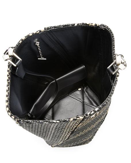Medium Hex Woven Raffia Bucket Bag