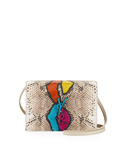 Kate Monogram Toy Python Snakeskin Wallet on a Strap