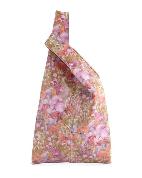 Floral-Print Patent Shopper Tote Bag