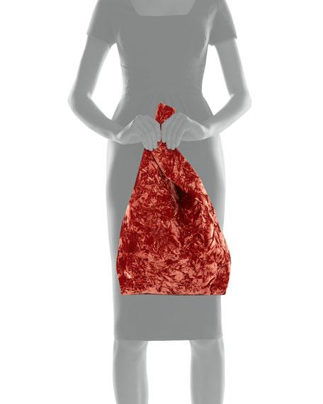 Folded Velvet Shopper Tote Bag