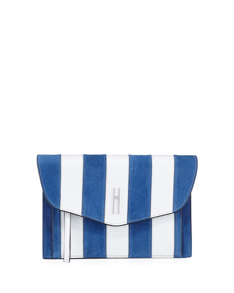 Bobby Striped Clutch Bag, White/Blue